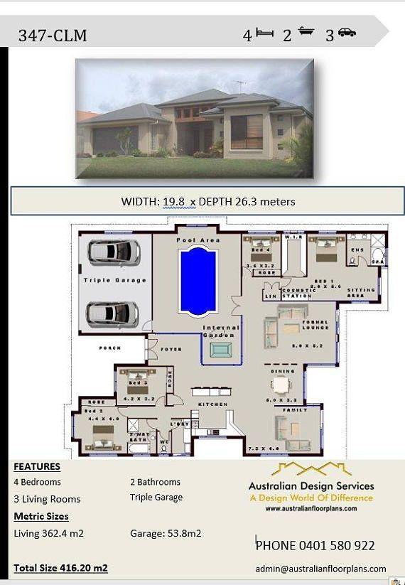 bedroom house plans triple garage home design bed floor blueprints bath also single storey plan pinterest rh