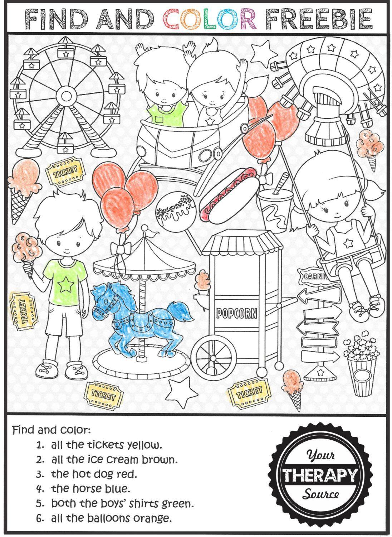 Amusement Park Find And Color