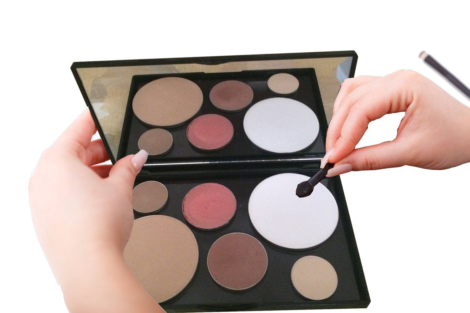 Empty makeup pallette with large mirror makes a