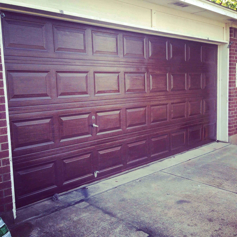 Using Minwax Hickory Gel Stain Gave My Garage Door A Makeover Garage Doors Garage Outdoor Decor