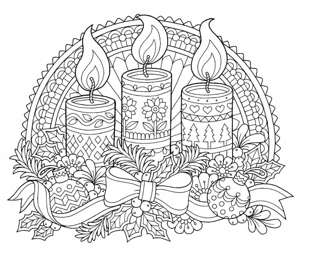 Coloring Pages Holiday Christmas. Christmas Candles Coloring Page Pin by Laura on Colouring pages for Adults  Pinterest Adult