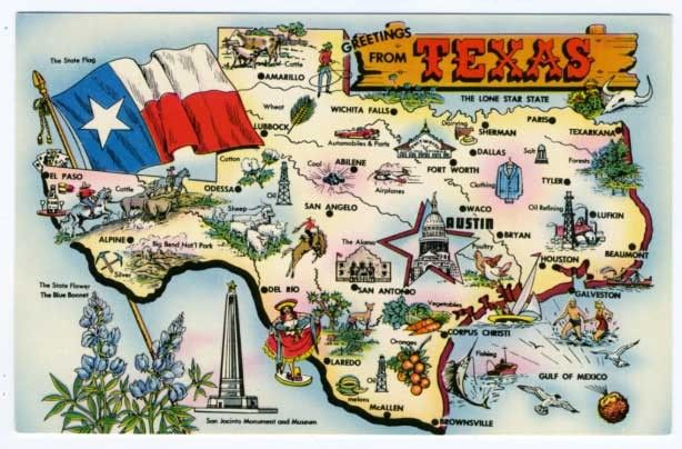 State Of Texas Road Map.Vintage State Map Postcards State Of Texas Map Vintage 1960s