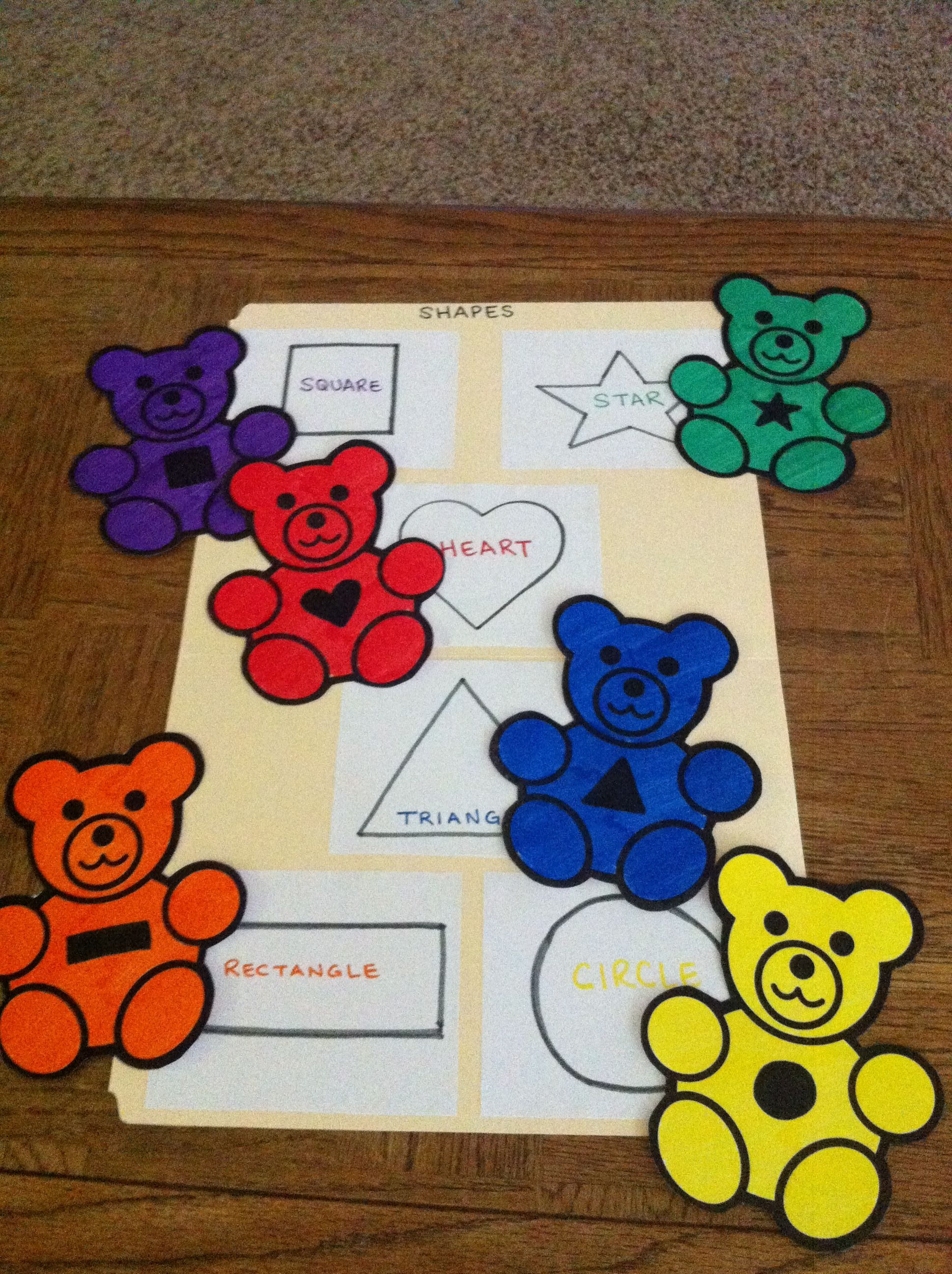 File Folder Game For Preschoolers Shape Matching With