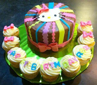 Hello Kitty cake cupcake combo phoenix cake decorator Birthday