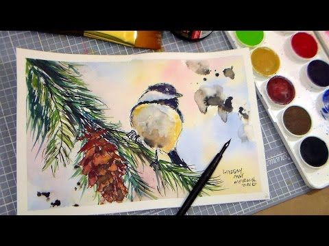How To Paint A Chickadee In Pen Ink And Watercolor Full Tutorial