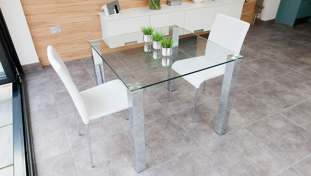 Tiva 2 To 4 Seater Small Glass And Chrome Dining Table Small
