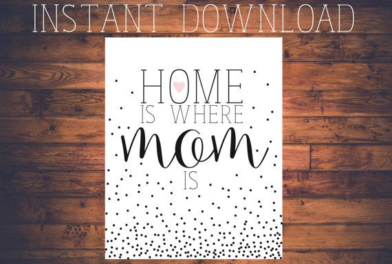 """A Crosswords Paper Co. Original INSTANT DOWNLOAD!!! Mother's Day: """"Home is where mom is"""" black and white, pink heart detail, ombre dot detail, script, sale"""