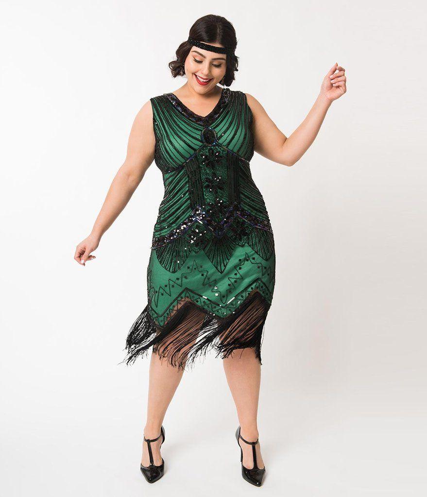 c241da5fa79f Unique Vintage Plus Size 1920s Deco Green & Black Sequin Veronique Fringe  Flapper Dress