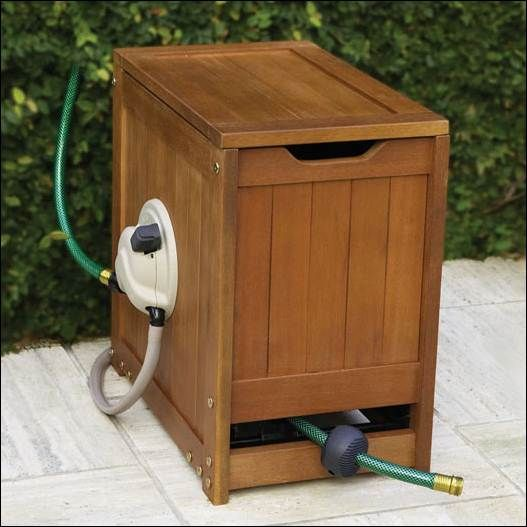Ideas Sturdy Wooden Box As Garden Hose Storages Contain Long Flexible Hose For Caring Gardens 002 Garden Hose Garden Hose Reel Hose Reel Garden Hose Storage