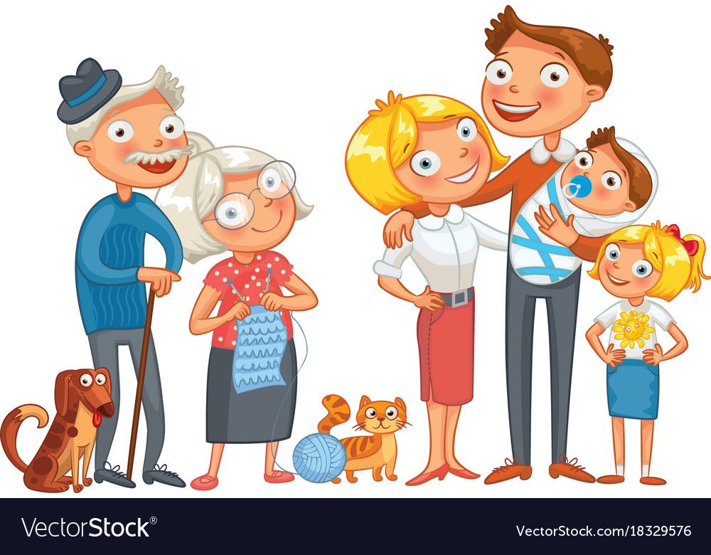 Big happy family funny cartoon character vector image on