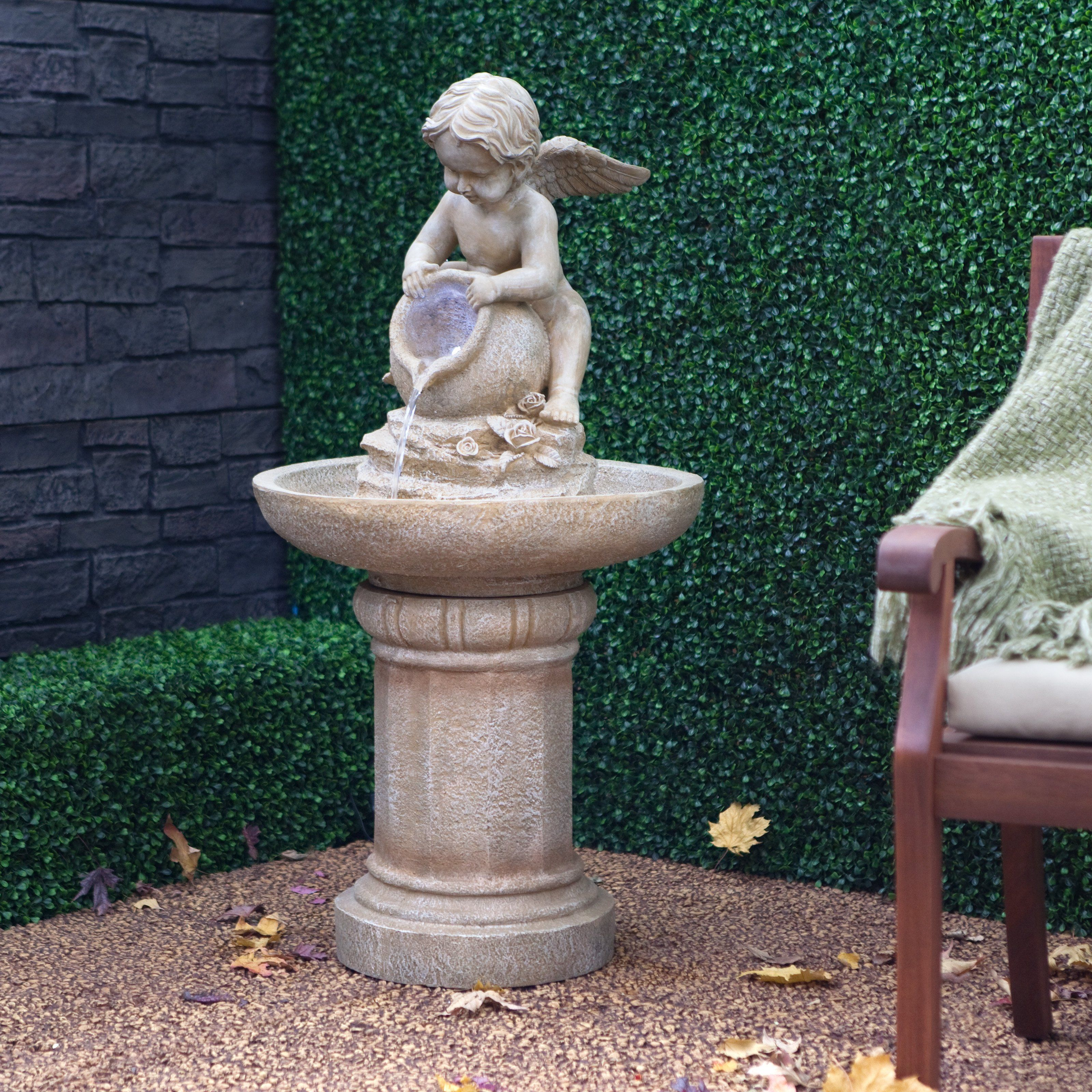 Joyful Cherub Bird Bath Fountain With Lights $349.99
