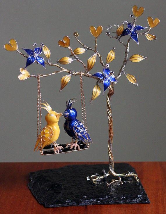 Lovebirds on a Tree Swing caketopper by WeddingsAndWire (on etsy)