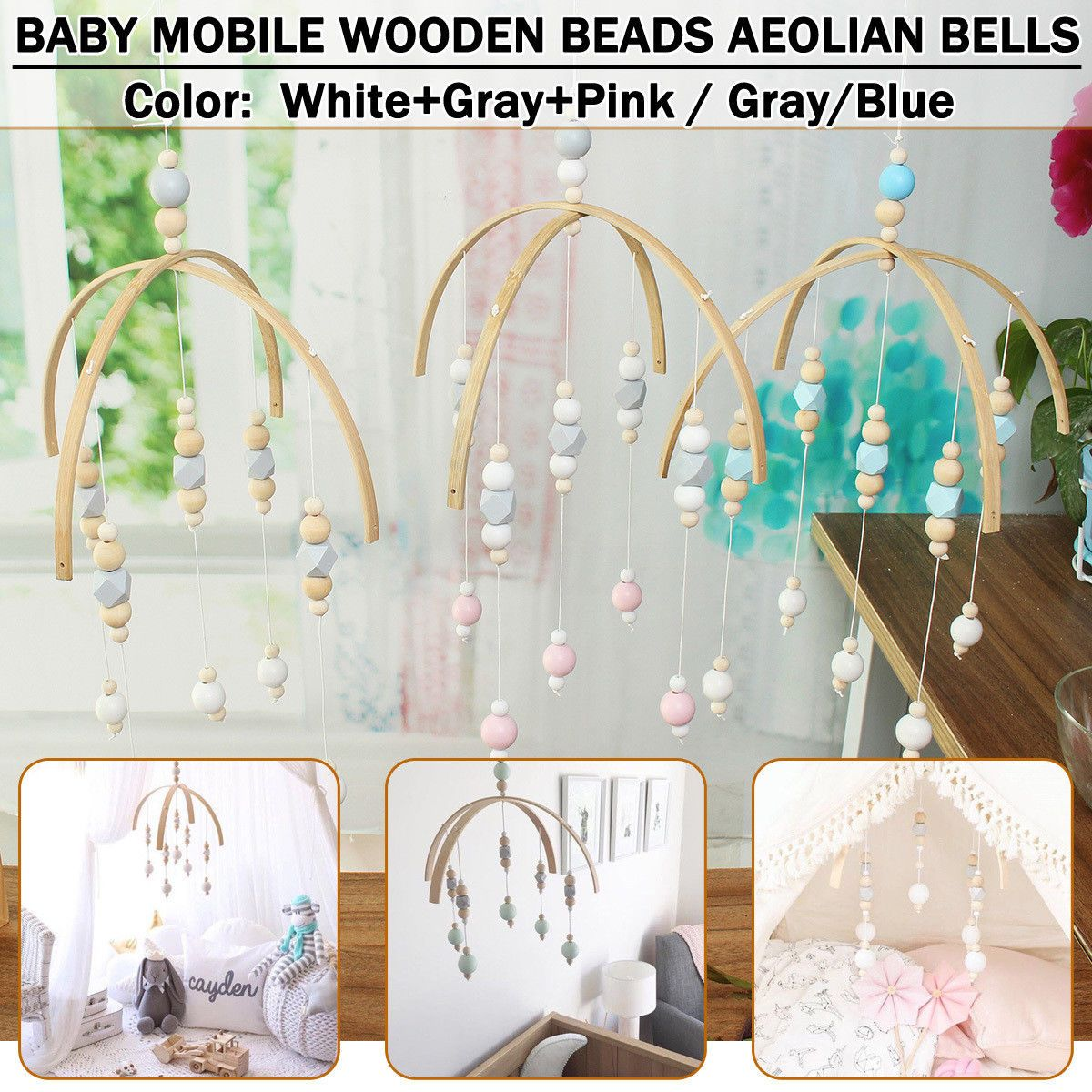Baby Crib Bed Bell Wooden Beads Mobile Holder Arm Bracket Wind-up DIY Toy Gift