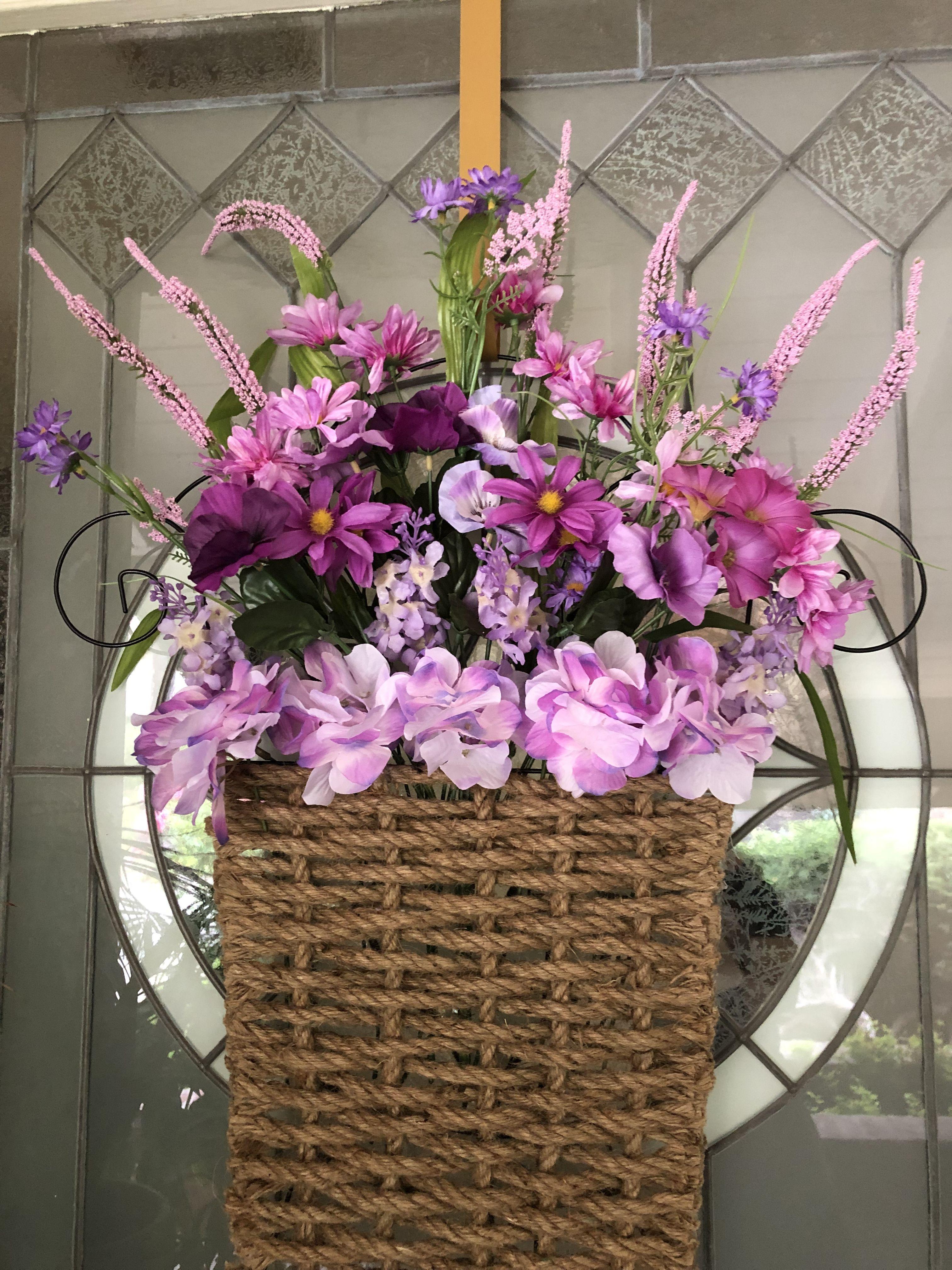 Diy basket spring wreath made of dollar tree trellis rope