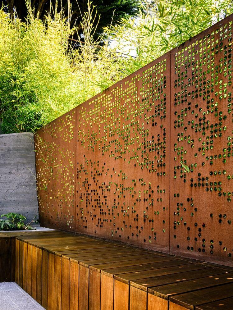 Luftiger moderner zaun aus cortenstahl mit l cken all for Grosartig grafgarten