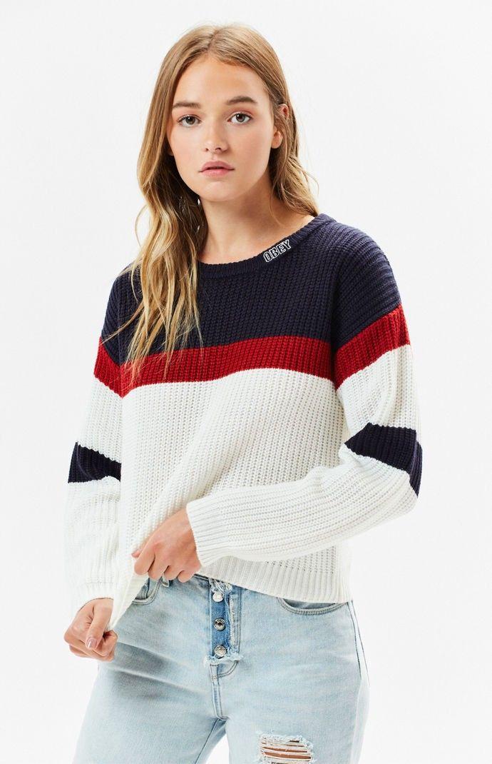 Obey Allie Striped Sweater - White Multi Sml  c94e033f7