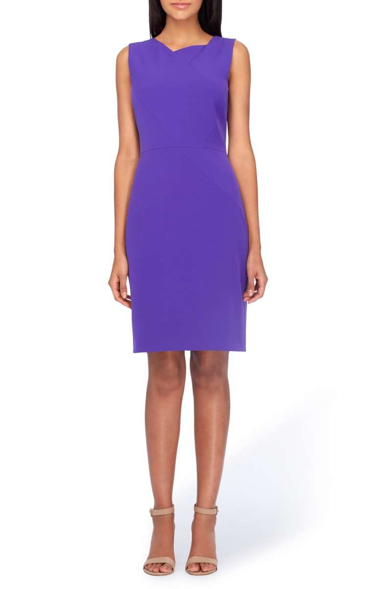 951596fb Tahari Asymmetrical Sheath Dress in violet purple (petite, regular) |  starting in size 2P | Envelope tailoring and fun color remix a classic  sheath that's ...