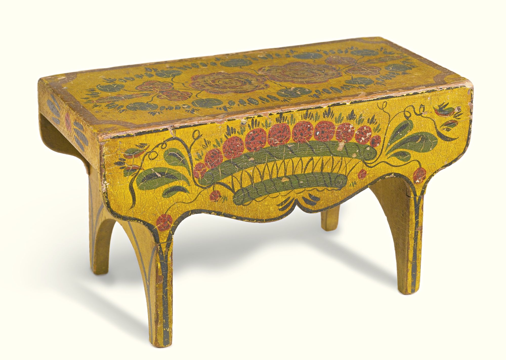 FEDERAL YELLOW PAINT DECORATED PINE FOOTSTOOL, PROBABLY NEW ENGLAND ...