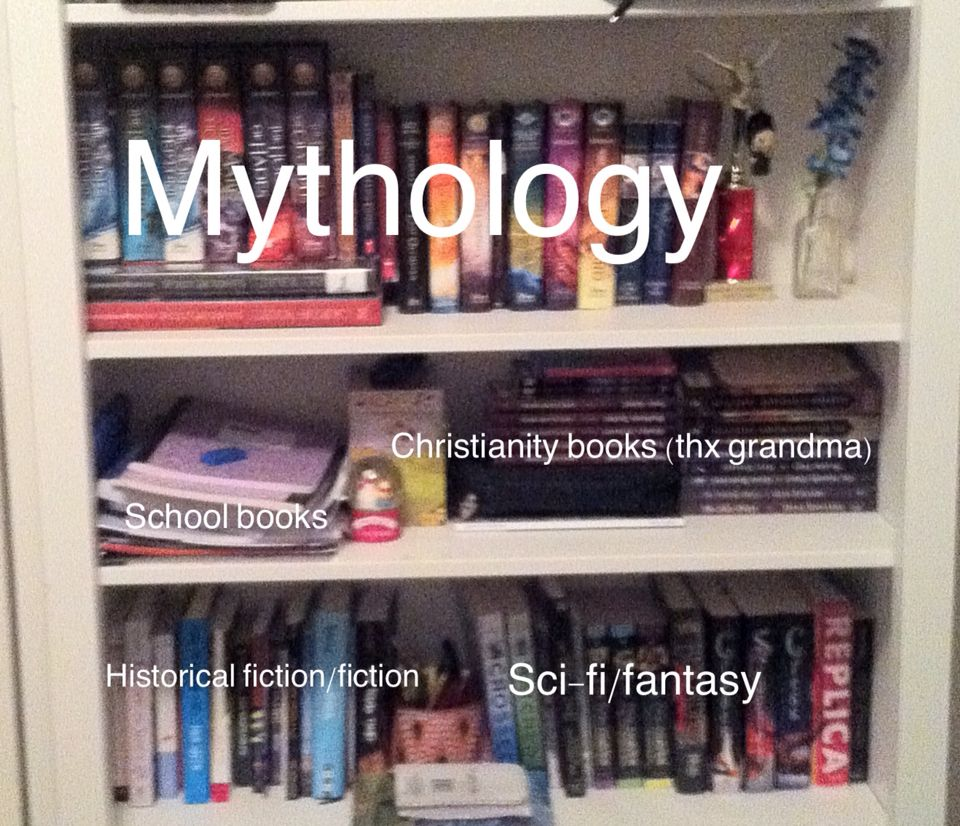 Reorganized my bookshelf in honor of national percy Jackson day!