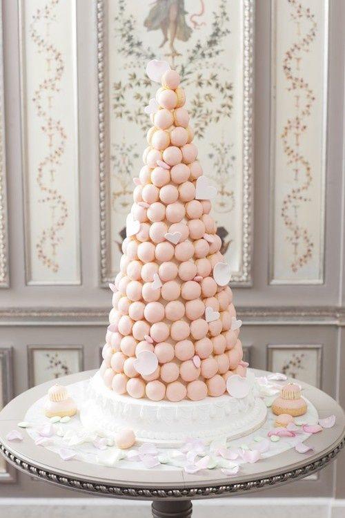 pink croquembouche with hearts Wedding macarons Wedding