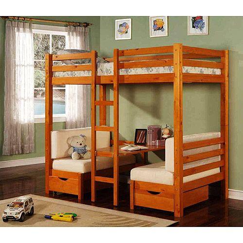 Merveilleux Table Convertible Bunk Bed, Maple: Kids