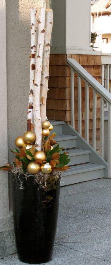 Winter holiday planters holiday deko pinterest for Birkenbaum deko