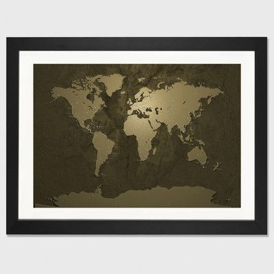 East Urban Home \u0027World (Cities) Map V\u0027 by Michael Tompsett Framed Graphic