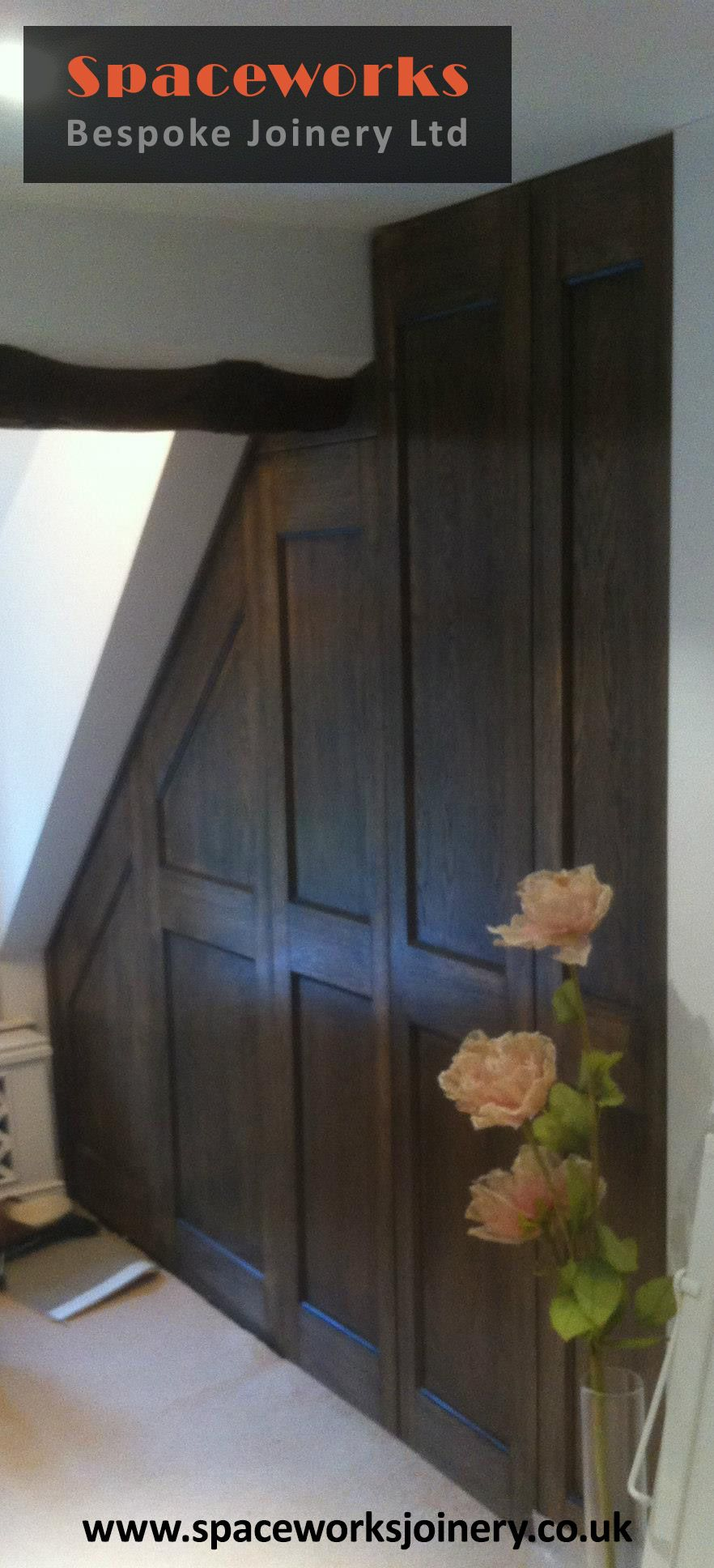stunning traditional dark wood panel door custom made to fit corner