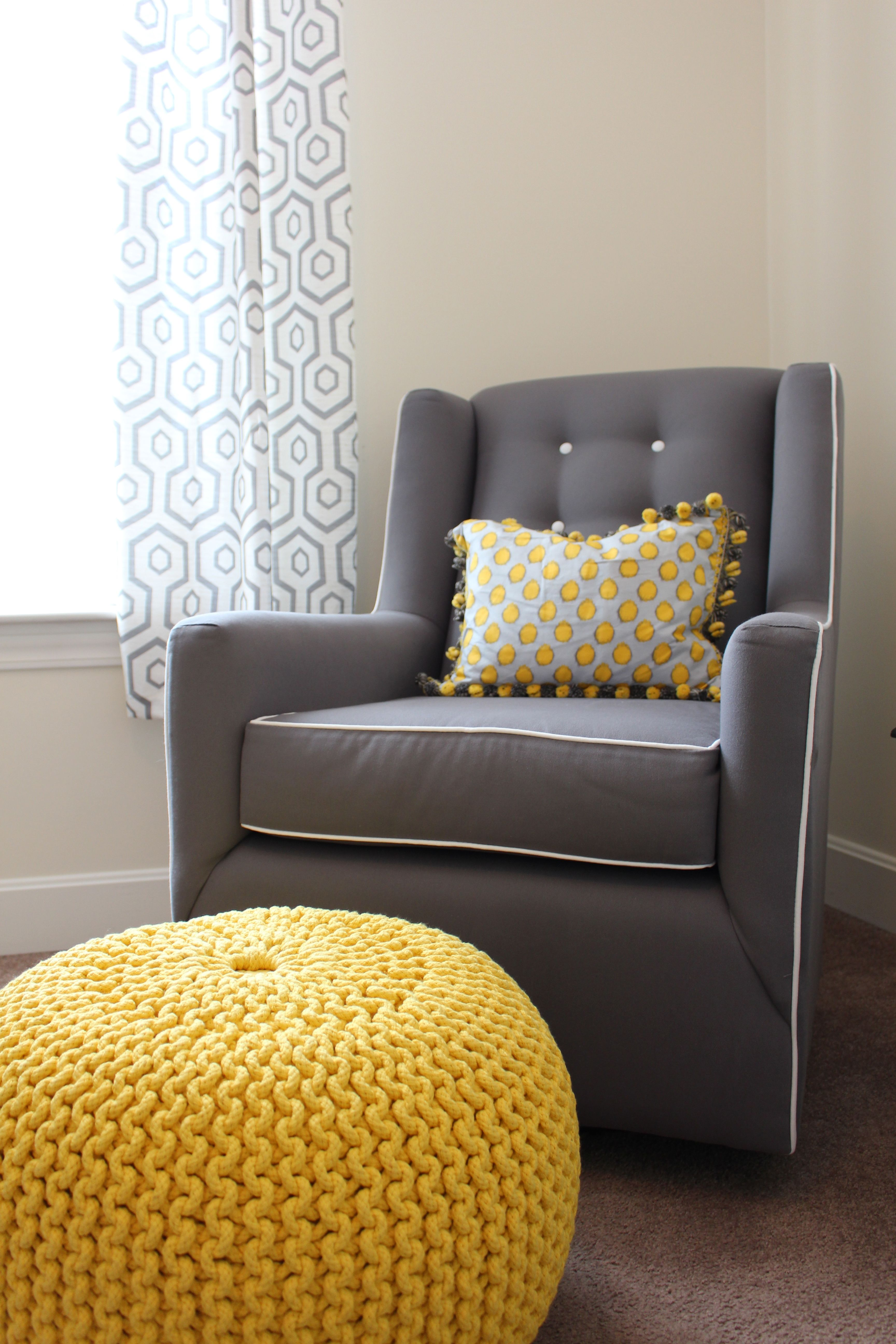 Yellow and gray nursery curtains - Yellow And Gray Nursery Chair Target Pouf Cb2 Curtains Tj