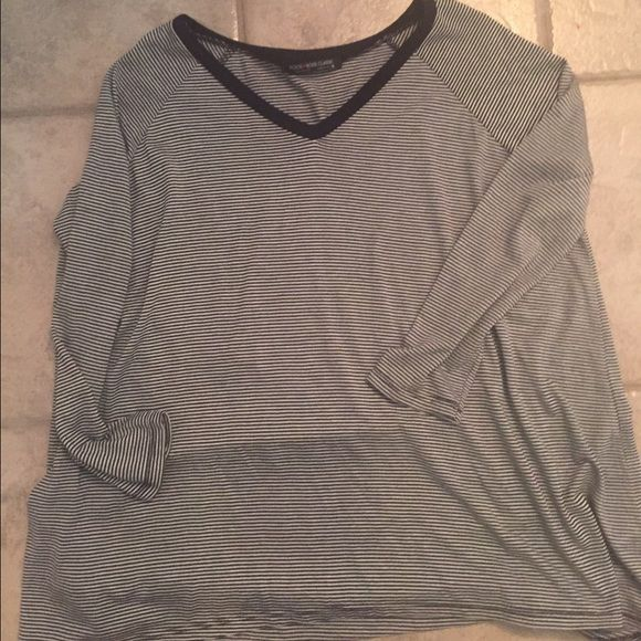 Stripped shirt Over sized super soft v neck long sleeved stripped top. Purchased from an online boutique but never worn. Tops Tees - Long Sleeve