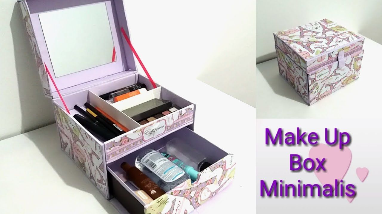 DIY How to make a makeup box minimalis | DIY makeup organizer -   18 diy Box makeup ideas