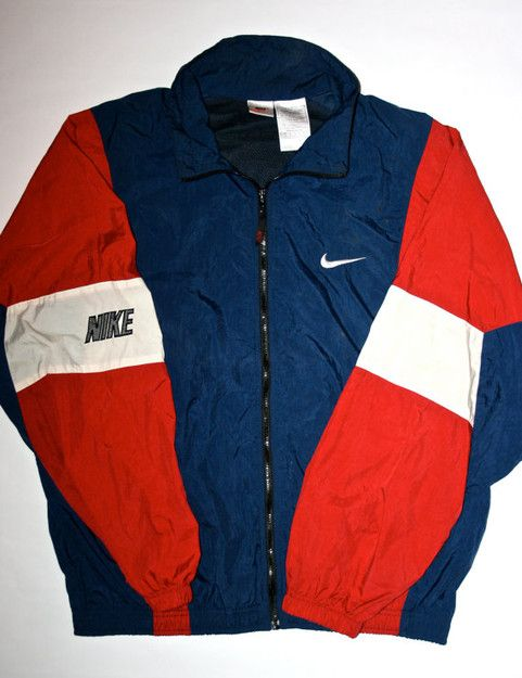 Vintage Nike Windbreaker Jacket Mens Large Turquoise Purple Red