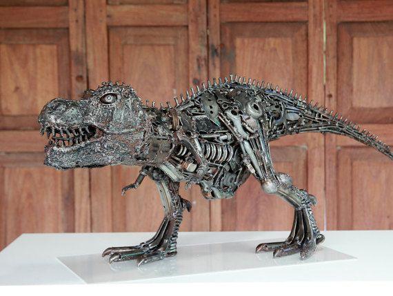 t rex metall skulptur schrott metall metall kunst von. Black Bedroom Furniture Sets. Home Design Ideas