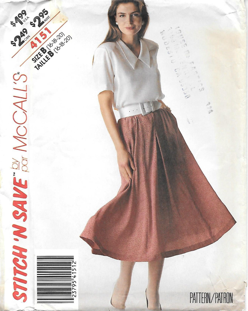 1980s McCalls 4151 Pullover Blouse and Twirl Skirt Sewing Pattern Sizes 16 18 20 UNCUT FF