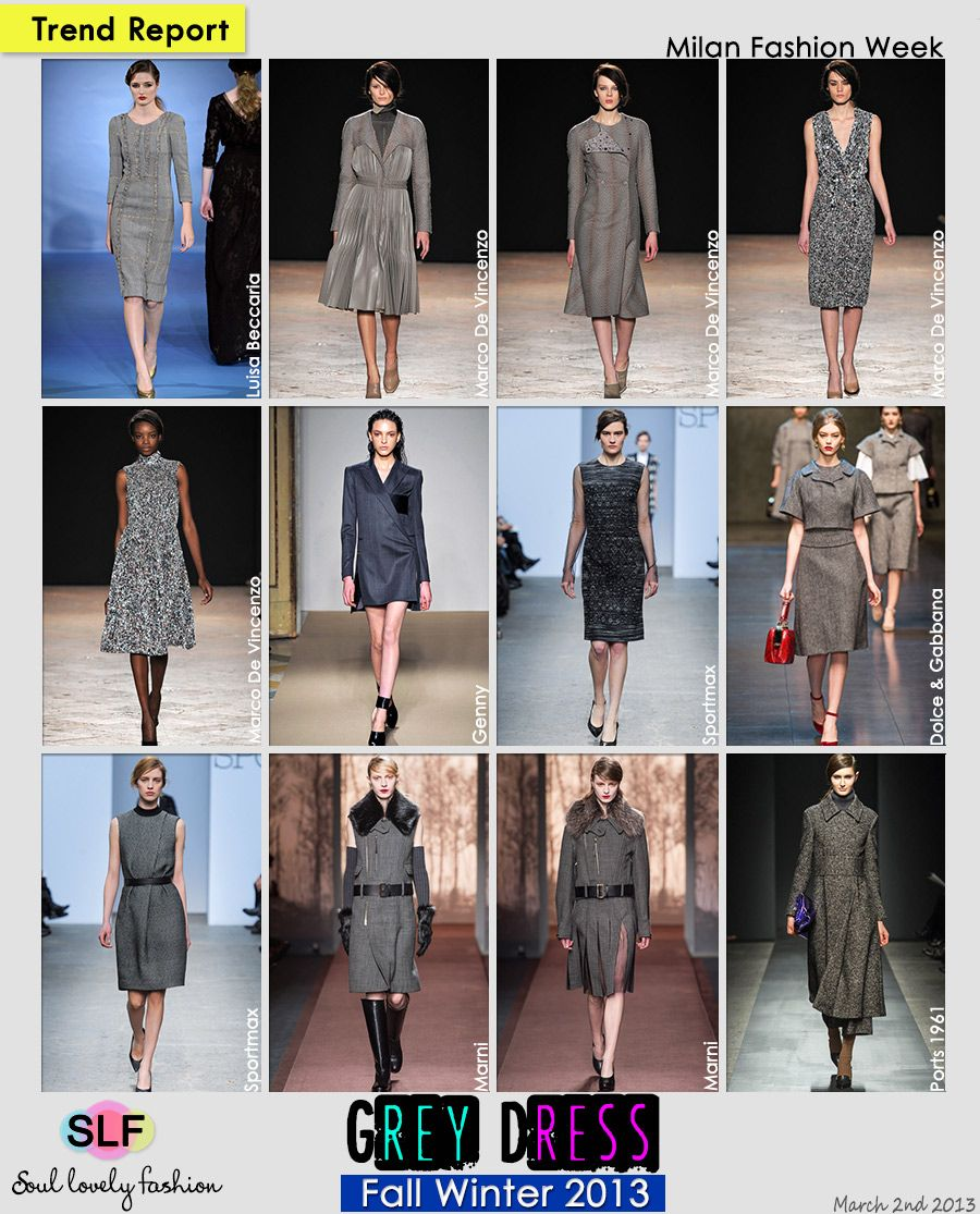 Grey Color Dress #Fashion #Trend for Fall Winter 2013  #MFW #Trends  March 2nd, 20133:23A.M. GMT