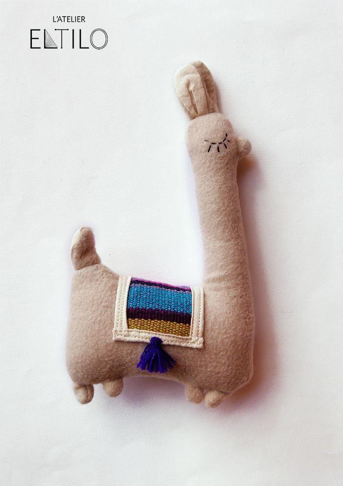 Llamita le lama    peluche original    doudou fait main