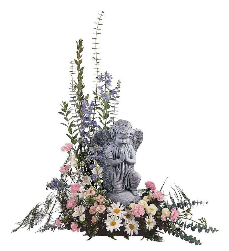 Pastel Dreams With Angel Funeral Flower Arrangements Memorial Flowers Funeral Flowers