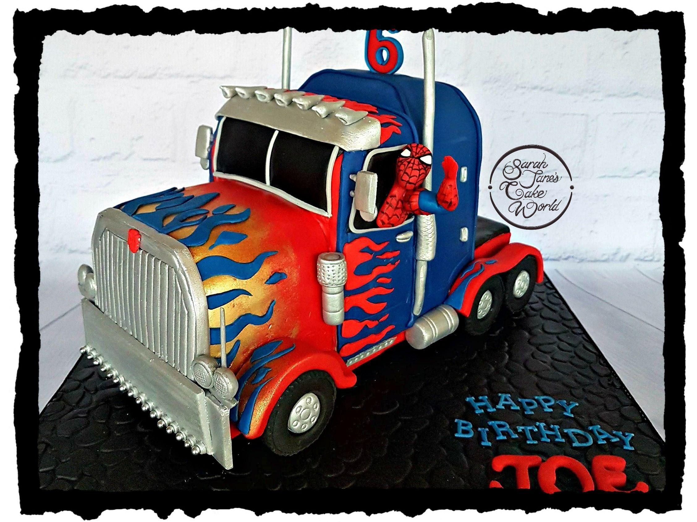 Optimus Prime Truck Cake With Spiderman And Captain America Optimus Prime Truck Cake Truck Cakes Optimus Prime Truck