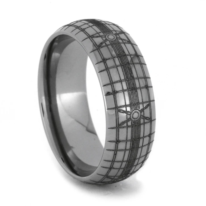 Titanium Wedding Band With Intricate Engraving1931 in