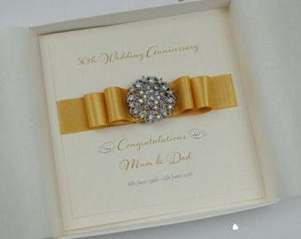 Beautiful boxed golden wedding anniversary card luxury greeting