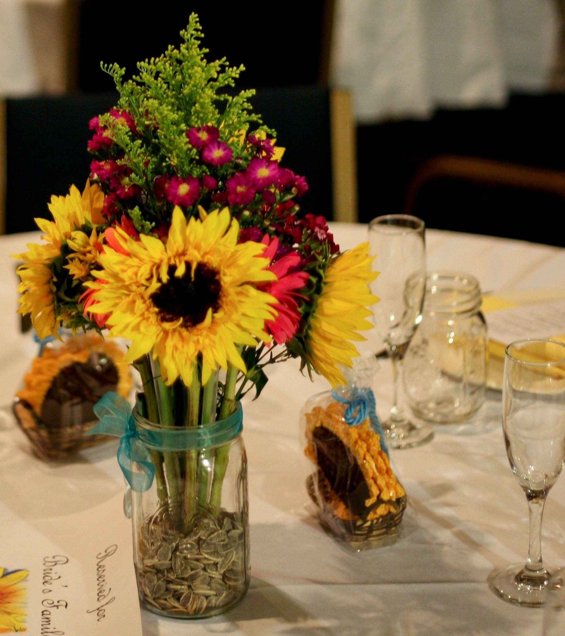 Wedding Flowers In Mason Jars: Mason Jar And Sunflower Theme. Use Smaller Mason Jars For