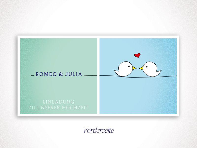 Einladungskarten - *Romeo & Julia* - Vogel Einladungskarte Hoc... - ein Designerstück von Paper-Message bei DaWanda