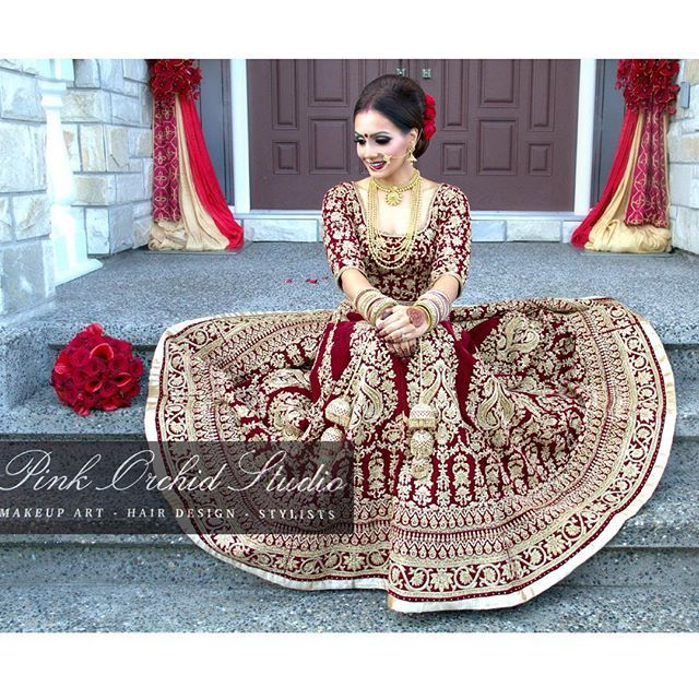 PinkOrchidStudio Instagram- Our beautiful bridal client Raman's wedding look. We love the deep maroon shade of her velvet bridal lengha which is by is @wellgroomedinc.