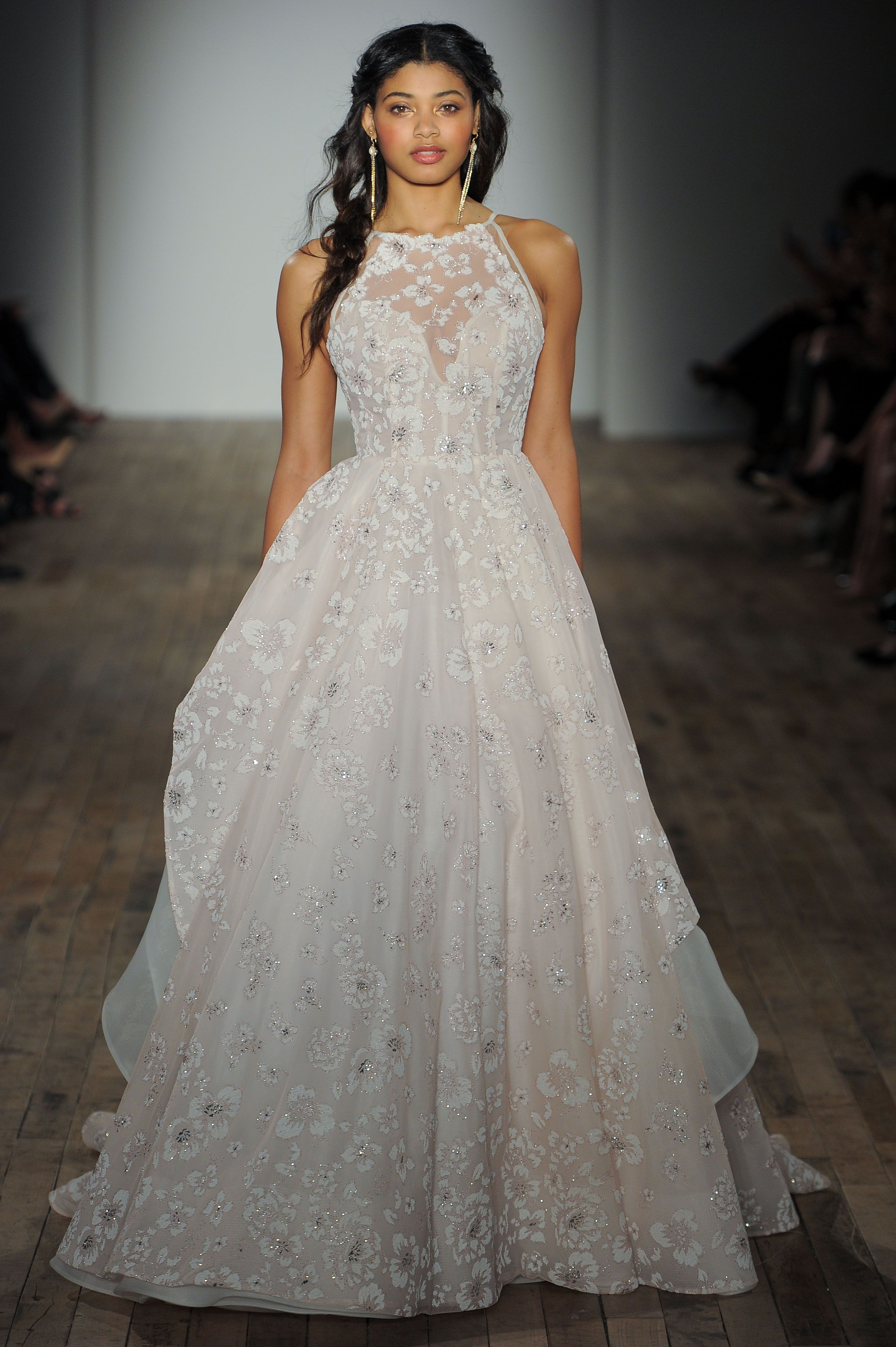 c2f446c71f759 Style 6755 Reagan Sandwashed Orchid caviar ball gown with illusion jewel  neckline and full layered floral skirt.