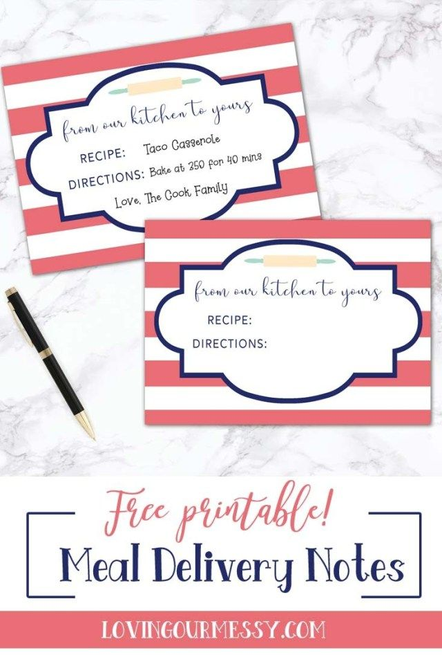 Meal Delivery Notes  Free Printable is part of New mom meals, Food delivery, Christening gifts for boys, New moms, Free printables, Printable personalized - Free printable meal delivery notes! Use these to bring a meal to a new mom, to a friend who just had surgery, or even on a batch of cookies for a neighbor!