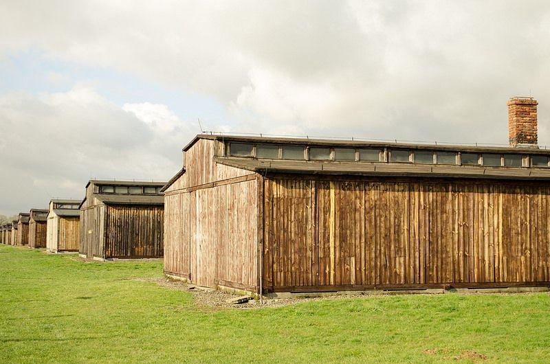 Auschwitz II-Birkenau :wooden barracks of the BIIa sector.