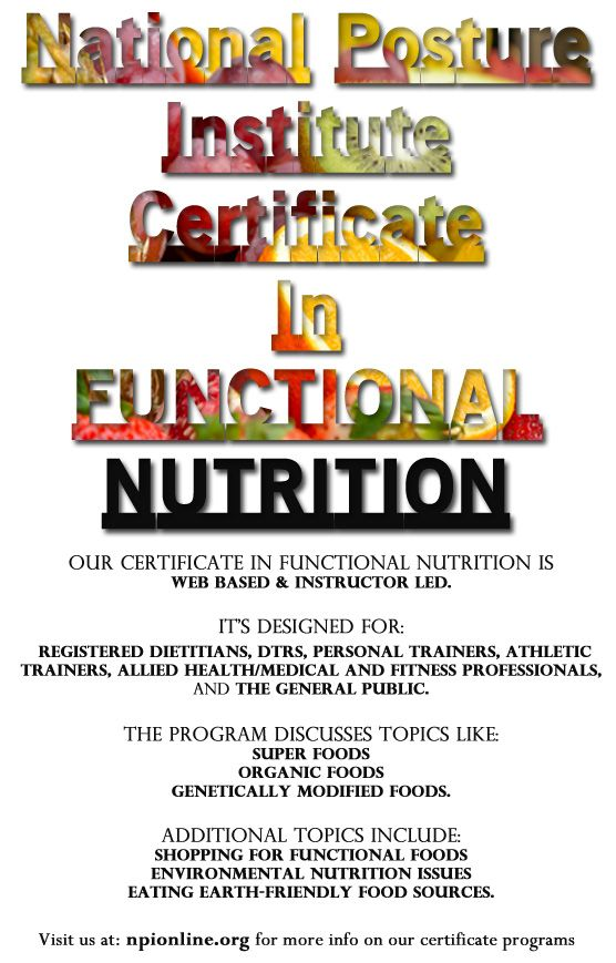 National Posture Institute\'s Functional Nutrition Certificate ...