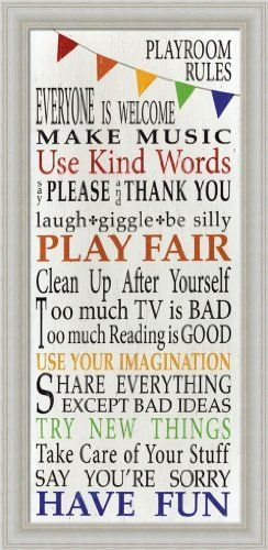 Playroom Rules Play Fair Have Fun Use Kind Words Sign 10x20 Framed ...
