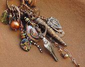 Mixed Media Charm Talisman Necklace with Goddess, Antique Button, Abalone, Handmade Beads, Moldavite, and More
