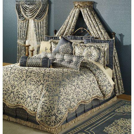 Sterling Damask Comforter Set Steel Blue With Images Brown Bed